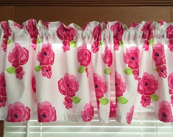 """Bright Pink Floral Window Valance ~ 64"""" wide"""