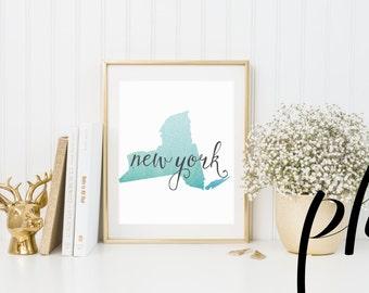 New York, New York Print, New York Gifts, New York Map, New York City, New York Poster, Printable Homeschool, ArtPrint, State Art, Printable