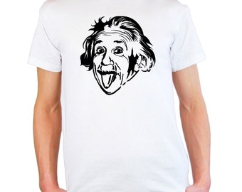 Albert Einstein Sticking Out His Tongue Custom T-Shirt Design / Mens & Womens Crazy Funny Sciencist Face Shirt + Free Decal Gift