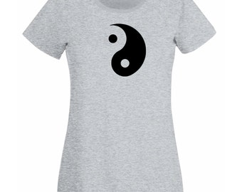 Womens T-Shirt with Yin and Yang Symbol Design / Ethical Symbol Shirts / Taoism Daoism TShirt /Philosophy Yoga + Free Decal Gift
