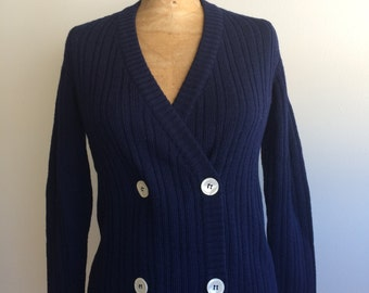 Navy blue ribbed double breasted cardigan vintage Hirshleifers