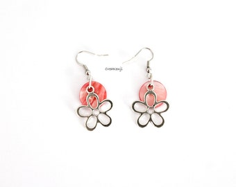 Earrings poetic pretty flowers colorful