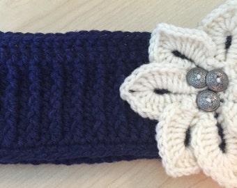 Crocheted Ear Warmer: Navy