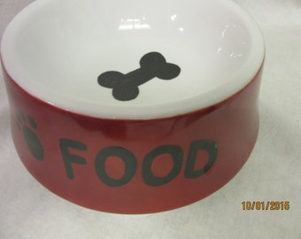 Dog Food bowl Dish Pets Red Ceramic Pottery Porcelain Hand painted China Art
