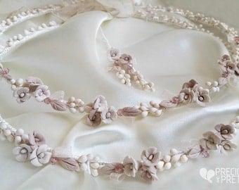 Stefana Greek Wedding Crowns Vintage Style Porcelain Roses Orthodox Stephana /Tiaras / Stefana