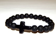 """Bracelet """"Mineral"""" into thin lava beads with one cross"""