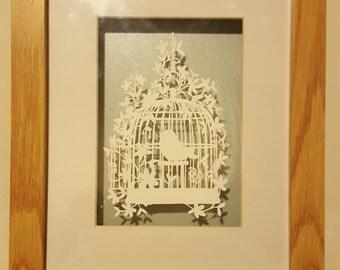 Birdcage vintage framed papercut