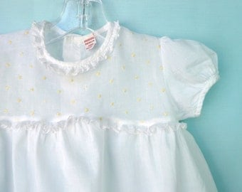 CLEARANCE--Lovely Vintage  40's White Batiste Infant Dress w/Organdy Bodice by Patricia Ann  9-12 Months
