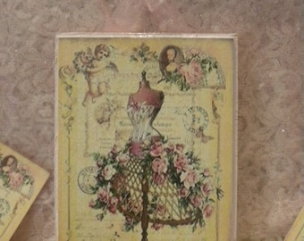 Shabby Chic / Vintage Paris hanging Plaque of Dress Form