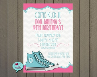 Birthday Party Invitation, Tween, Girl, Shoe Party, Converse - PRINTABLE DIGITAL FILE 5x7