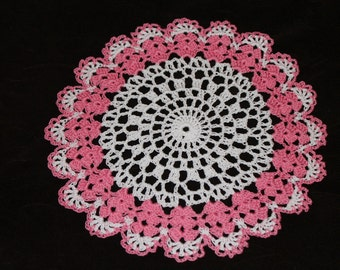 New Hand Crocheted Doily - white and french rose