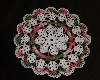 New Hand Crocheted Doily - white and pink camo