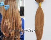 18 inch straight hair extensions, dark honey blonde human hair extensions, indian remy clip in hair extensions RHS057