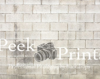 7ft.x5ft. Grungy Cinderblock Photography Backdrop - Stone Floor Drop - Vinyl Backdrops