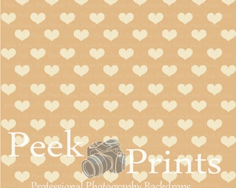 5ft.x5ft. All about those Hearts Brown Vinyl Professional Photography Backdrop - Neutral Valentines Day Backrop
