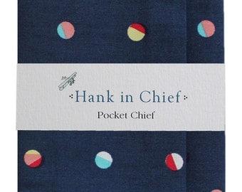 Banjo pocket chief : Navy blue spot print