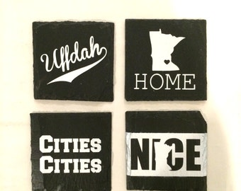 Slate Coasters, Minnesota Coasters, Painted Coasters, Set of 4