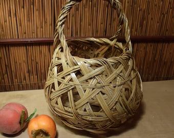 Antiques Japanese Ikebana Bamboo Basket Flower Arrangement Vessel