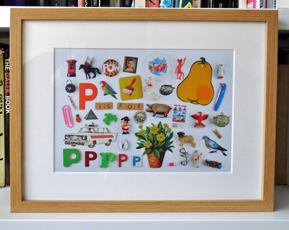 Limited Edition Alphabet Collage Print With Mount: P Is For...  Original, Vintage-Themed, Unframed