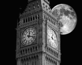 Big Ben, Cityscape Of Big Ben And Moon At Night in London England. Black & White Photography Picture, B And W Prints Framed / Unframed