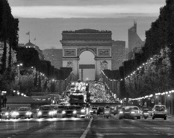 Champs Elysee, Cityscape Of The Champs Elysee Arc de Triomphe Paris. Black & White Photography Picture, B And W Art Prints Framed / Unframed
