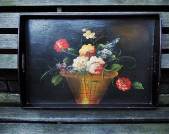 Vintage hand painted wooden tray.