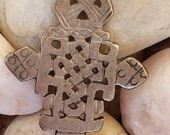 Ethiopian CROSS Coptic Cross Pendant from Ethiopia~Ancient Christian Cross~African Metal Cross~Religious Medal~Cast in the Lost Wax Method.