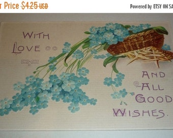 With Love and All Good Wishes Basket of Forget-Me-Nots Antique Postcard
