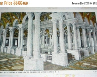 Hall of Columns, Library of Congress Vintage Unused Prelinen View Postcard