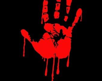 Bloody Zombie Hand Walking Dead Vinyl Decal Sticker Car Truck Auto Window