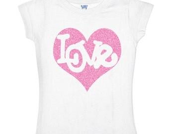 Love inside Pink Heart Glitter Kids Shirt for girls