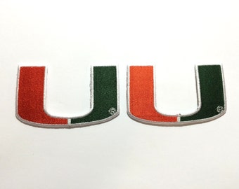2 Miami Hurricanes Embroidered Iron on patch set for crochet hats clothing projexts