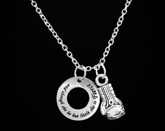 Shakespeare And Though She Be But Little She Is Fierce Boxing Glove Gift For Strong Woman Quote Necklace