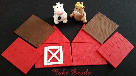 Barn & Farm Animal Fondant- MINI Cake Topper Kit, Handmade Edible