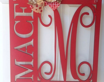 Monogram door hanger, monogram wall decor, name door hanger, custom monogram door hanger, round name door hanger, monogram name door hanger