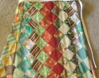 Vintage  Handmade Patchwork Wrap Skirt