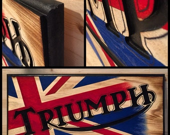 Hand made Triumph Wood Sign