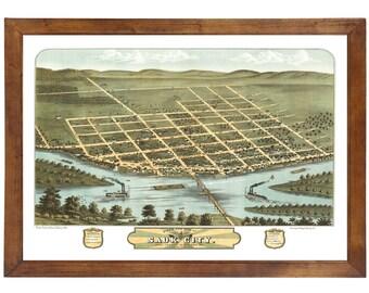 Sauk City, WI 1870 Bird's Eye View; 24x36 Print from a Vintage Lithograph
