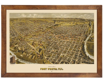 Fort Worth, TX 1891 Bird's Eye View; 24x36 Print from a Vintage Lithograph