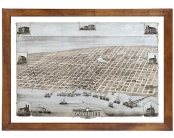 Galveston, TX 1871 Bird's Eye View; 24x36 Print from a Vintage Lithograph
