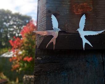 Sterling silver swallow shaped stud earrings, mirror shine - Large bird stud earrings.
