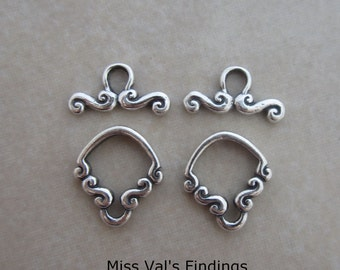 2 sterling silver fancy toggle clasps from Bali scroll design