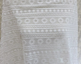 """Retro style fabric, white lace fabric by the yard, 51.2"""" wide embroidered lace fabric, apparel curtain fabric lace"""