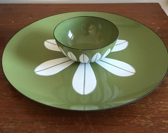 Vintage Cathrineholm Green White Lotus Plate and Small Bowl