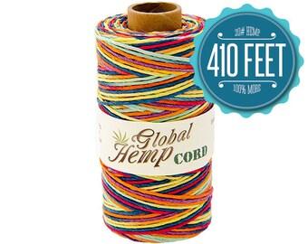 Global Hemp Rainbow Variegated Polished Hemp Cord - 1 mm - 410 Feet