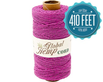 Global Hemp Radiant Orchid Polished Hemp Cord - 1 mm - 410 Feet