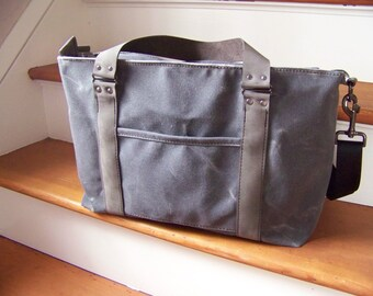 Waxed Canvas Diaper Bag / Deluxe Baby Bag with Leather /  Made to Order