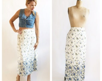 Cascading forget-me-not floral wrap skirt. Size L/XL.