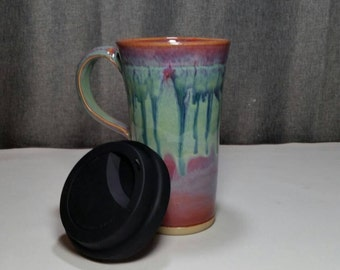 Made to Order(Up to 3 weeks)*Pottery Travel mug / Commuter mug with silicone lid - Violet Rain