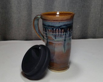 Made To Order*(up to 3 weeks)*Ceramic Travel Tumbler / Commuter mug with silicone lid - Honey  Blue